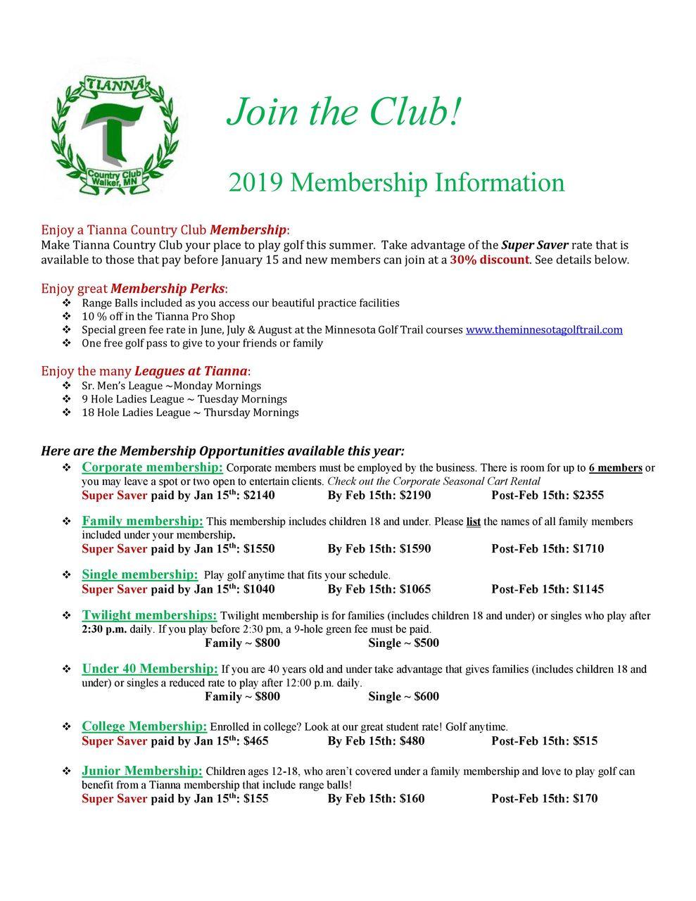 Membership - Tianna Country Club